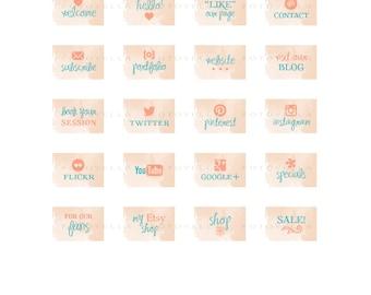 "Facebook Tab App Buttons - Custom Tab Image Templates - ""Watercolor"" - 1096"