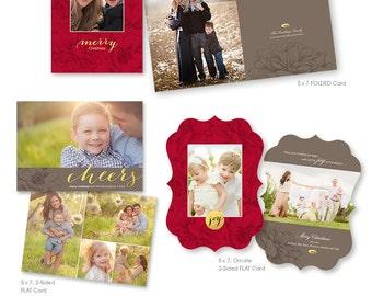 Christmas Card Templates - Three Piece Set - Photoshop Templates - 1170