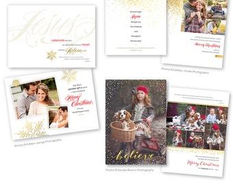 Christian Themed Christmas Card Photoshop Templates for Photographers - Three Piece Bundle - 1202