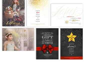Christian Bible Verse Christmas Card Templates - Photoshop Templates For Photographers - 6 Pack - 1210