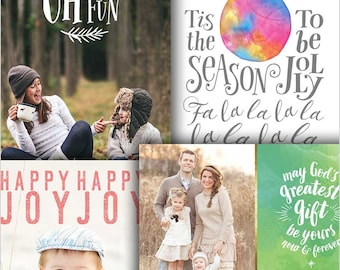 Christmas Card Templates Bundle for Photographers - 4 Card Bundle - 1493