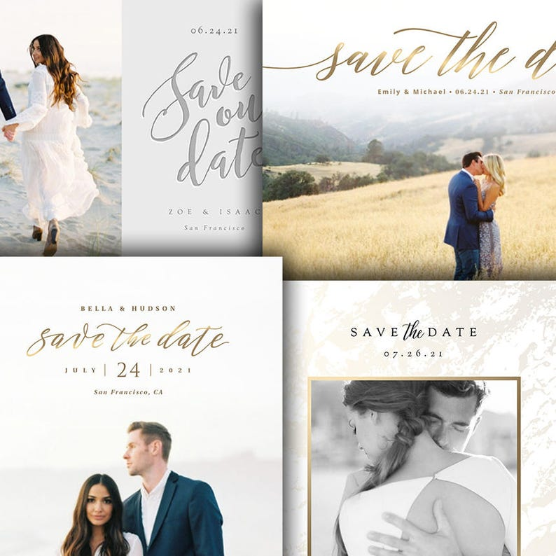 Wedding Announcement  Save The Date Card Photoshop Template  image 0