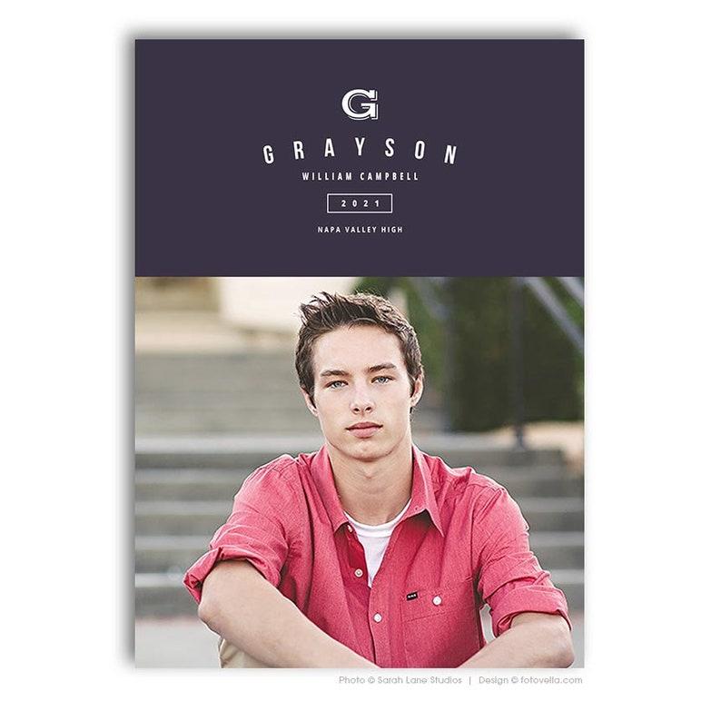 Senior Graduation Announcement Card Photoshop Template  image 0