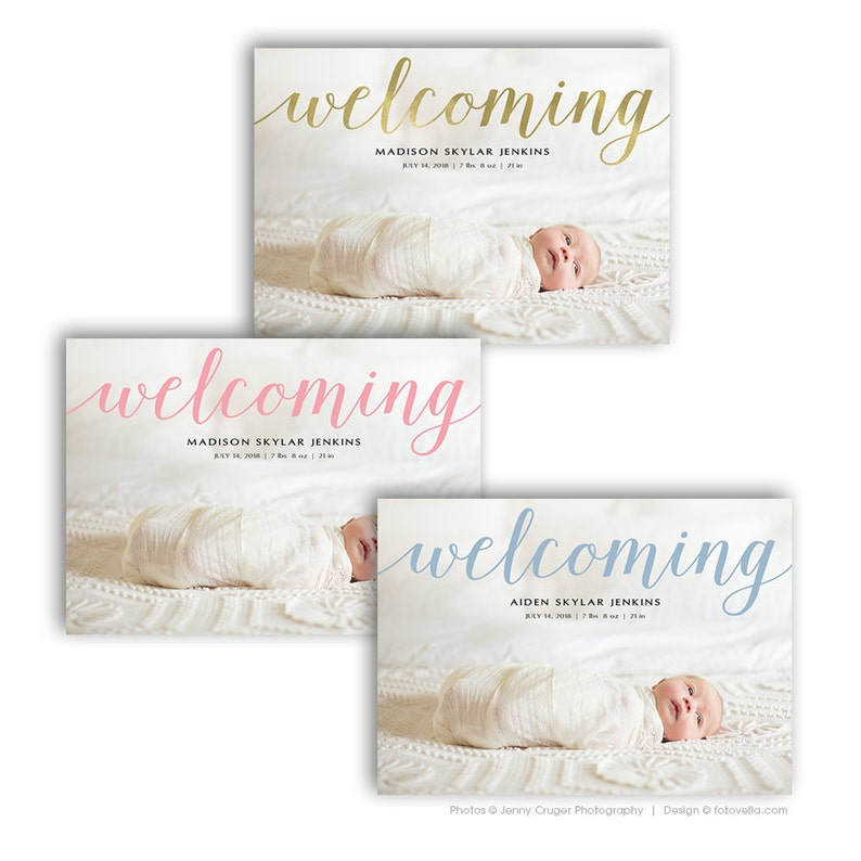 Birth Announcement Card 7X5 Photo Card Template For Pro