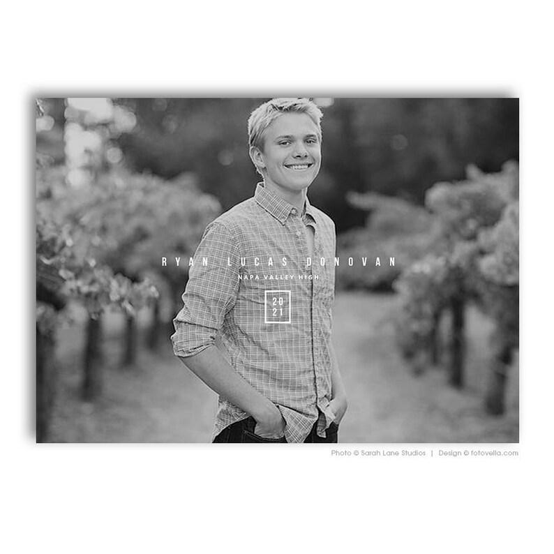Senior Graduation Announcement Card Photoshop Template  RYAN image 0