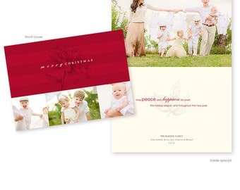Christmas Card Template - Horizontal Folded 5x7 Card - Holiday Blooms Collection  - 1164
