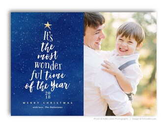 Christmas Photo Card Template - Holiday Year In Review Newsletter Card Template - For Photographers - Photoshop Required - WONDERFUL - 1588