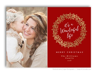 Holiday Card Template for Photographers - Photoshop Template - 5x7 Card - WONDERFUL - 1488