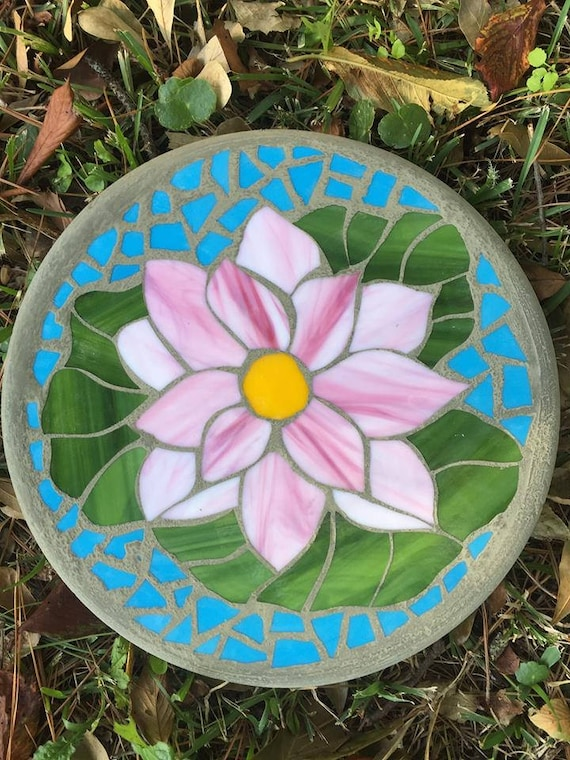 Peaceful Blossom Lotus On Lily Pad Mosaic Stepping Stone Etsy