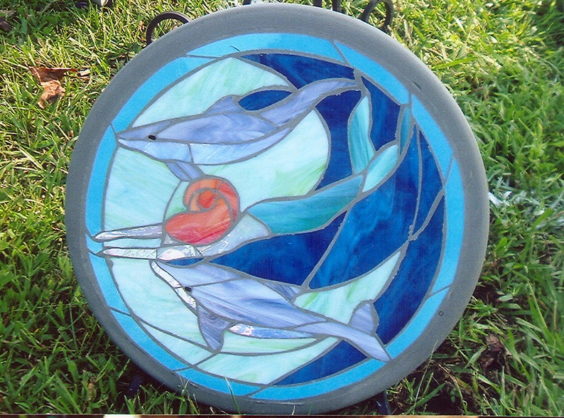 Stepping Stones with Stained Glass Dolphins