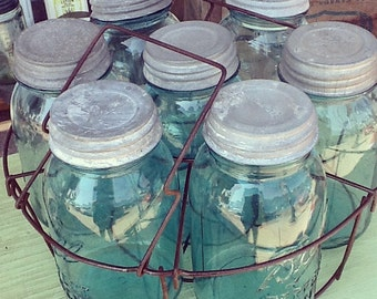 You've seen this on Pinterest - Set of 7 vintage blue Ball / Mason glass jars for a chandelier
