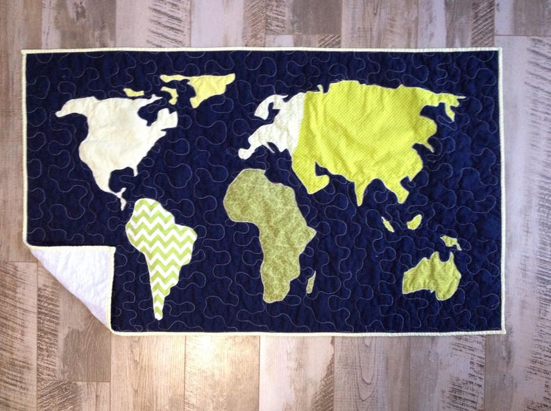 World Map Quilt Pattern.Baby Quilt Customized Map Crib Bedding World Map Quilt Etsy