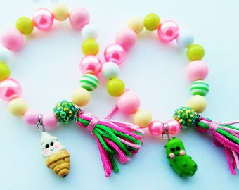 Ice cream and pickle friendship bracelets (stretchy bracelets)
