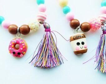 Coffee and donuts friendship bracelets (stretchy bracelets)
