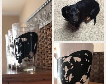 Custom drinking glass or mug , dog, cat, favorite pet photo