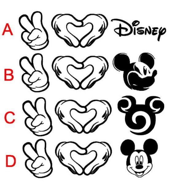 Paz amor y Mickey Disney inspiran etiqueta del coche de | Etsy