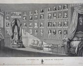 18th C. Heart of Voltaire Room Chambre du Cour du Voltaire Copper Engraving by Nee after Duche - circa 1781, France