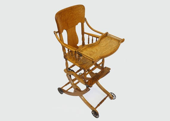 image 0 - Antique Oak Convertible High Chair Stroller Rocker With Etsy