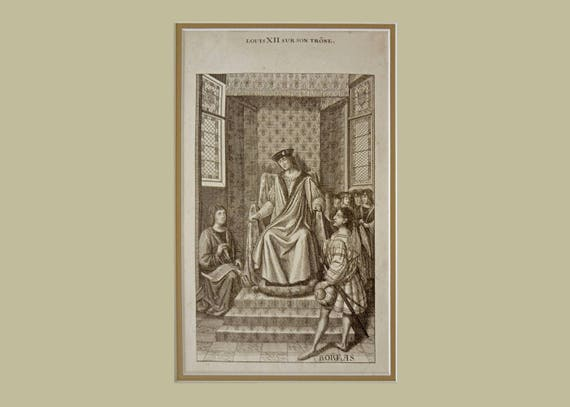 France Louis XII sur son Trone Steel Engraving after Jean Bourdichon 19th Century