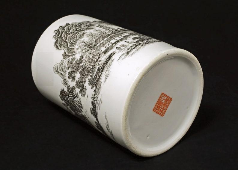 post 1970 China Chinese Porcelain Brush Pot Landscape Calligraphy Red Seal Mark Jingdezhen