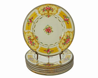 Set Antique 8 Royal Worcester Yellow Plates English Registry Number C2115 - 1922, England