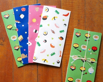 Limited Edition, Origami Paper Notebook Set, Sushi -- Hand-stitched Journals, Wedding Favors, Bridesmaids