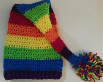 Rainbow baby elf hat