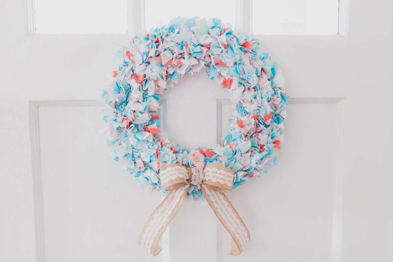 Custom Order Fabric Shabby Chic Rag Wreath | Etsy