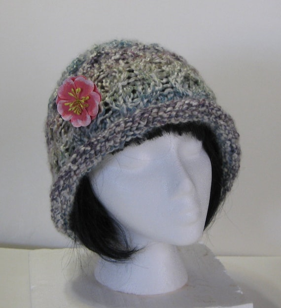 7f63c0fe89a Rolled Brim Tudor Colors Hand Knit Bucket Hat With Flower