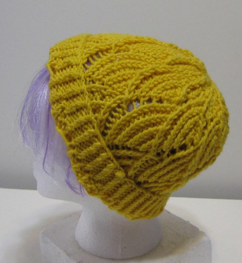 Gold Fan Lace Hand Knit Beanie