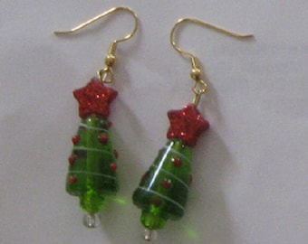 Christmas Tree Earrings with Red Stars