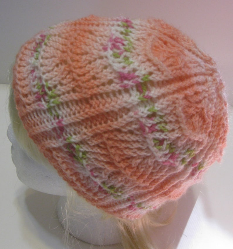 Pretty Floral WhitePeach Hand Knit Beanie