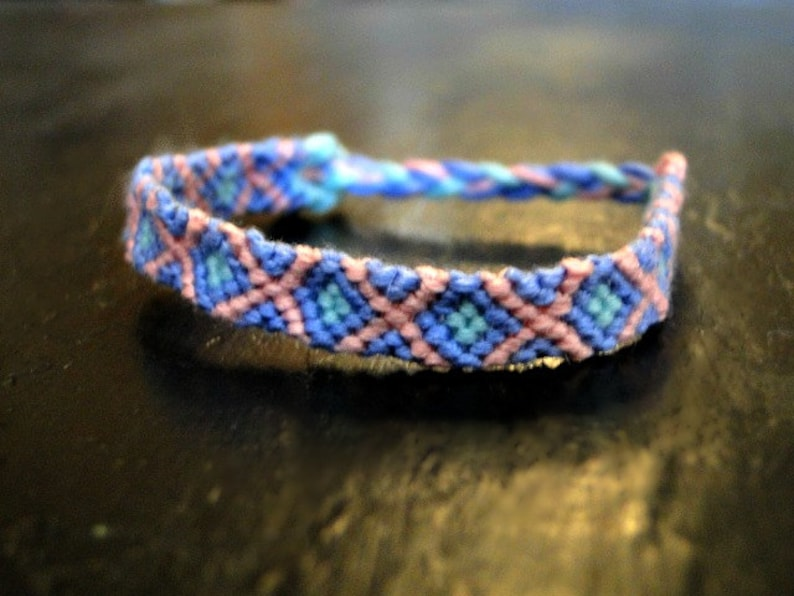 691d1daefe7c0 Cotton Candy // cross x outline square diamond chevron border friendship  bracelet