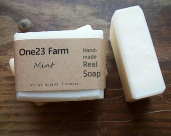 Mint Lard and Lye Soap //  Natural Soap, Spearmint & Peppermint. Cold Process.