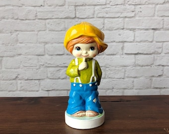 Vintage boy figurine, Hand painted boy, World Gift Japan, colorful mischievous boy figure, boy in patch clothing, blue eyes, patchwork