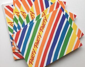 Rainbow party invitations, 4x5 hallmark invitations, NOS rainbow stripe invites, vintage pride party invitations, rainbow party supplies