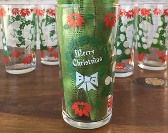 Vintage Christmas glasses, set of 6, Continental Can company cups, vintage xmas drinkware, merry Christmas glasses, happy new year glasses