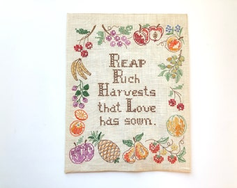 Reap Rich Harvests that Love has sown embroidery, fruit fiber art, harvest cross stitch, 70s vintage embroidered fruit decoration