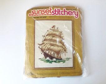 "Ship Crewel Kit, 70s Sunset Stitchery, Before the wind, 16 x 20"", large Intermediate crewel embroidery, nautical, maritime, seafaring"