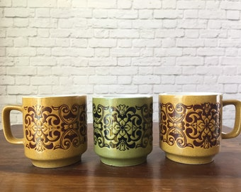 Vintage mugs, set of 3 earth tone mugs with pattern, tea cups, earth tone coffee mug, army green mug, ochre mugs