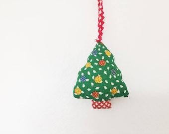 Vintage Christmas, tree ornament, vintage fabric Ornament, fabric Christmas tree ornament, handmade plush ornament, soft tree ornament