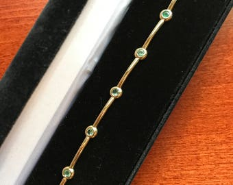 Emerald and 14K Gold Bracelet - 1.75 carat  - May Birthstone