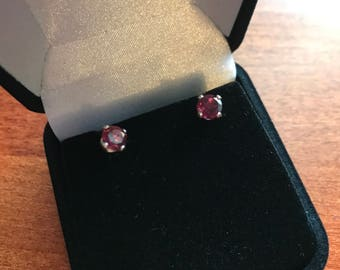 Garnet Stud Sterling Silver Earrings - Round Red Garnet Earrings - January Birthstone