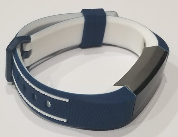 Fitbit Alta Silicone Two Tone Navy Blue & White Rubber Sports Fitness Band  /Strap