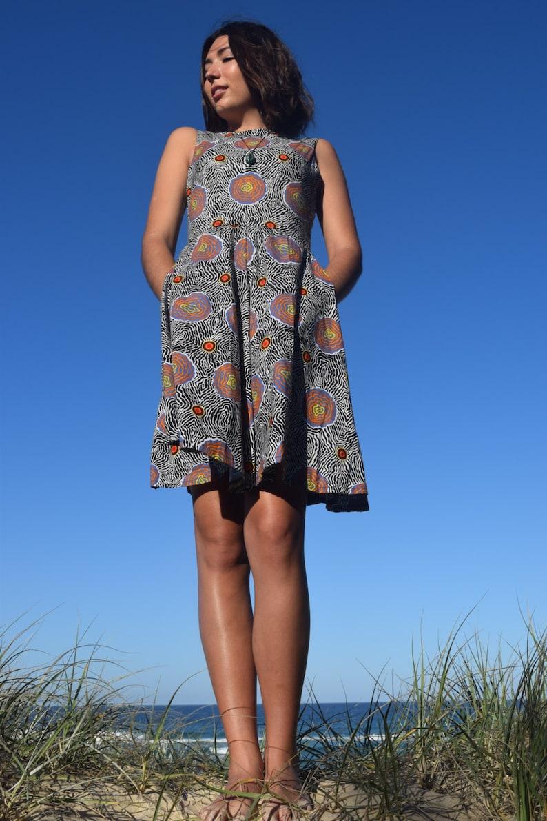 100/% Cotton Aboriginal Artwork Print Vintage style Sleeveless dress- Side Pockets Salt Plain Full Circle Skirt