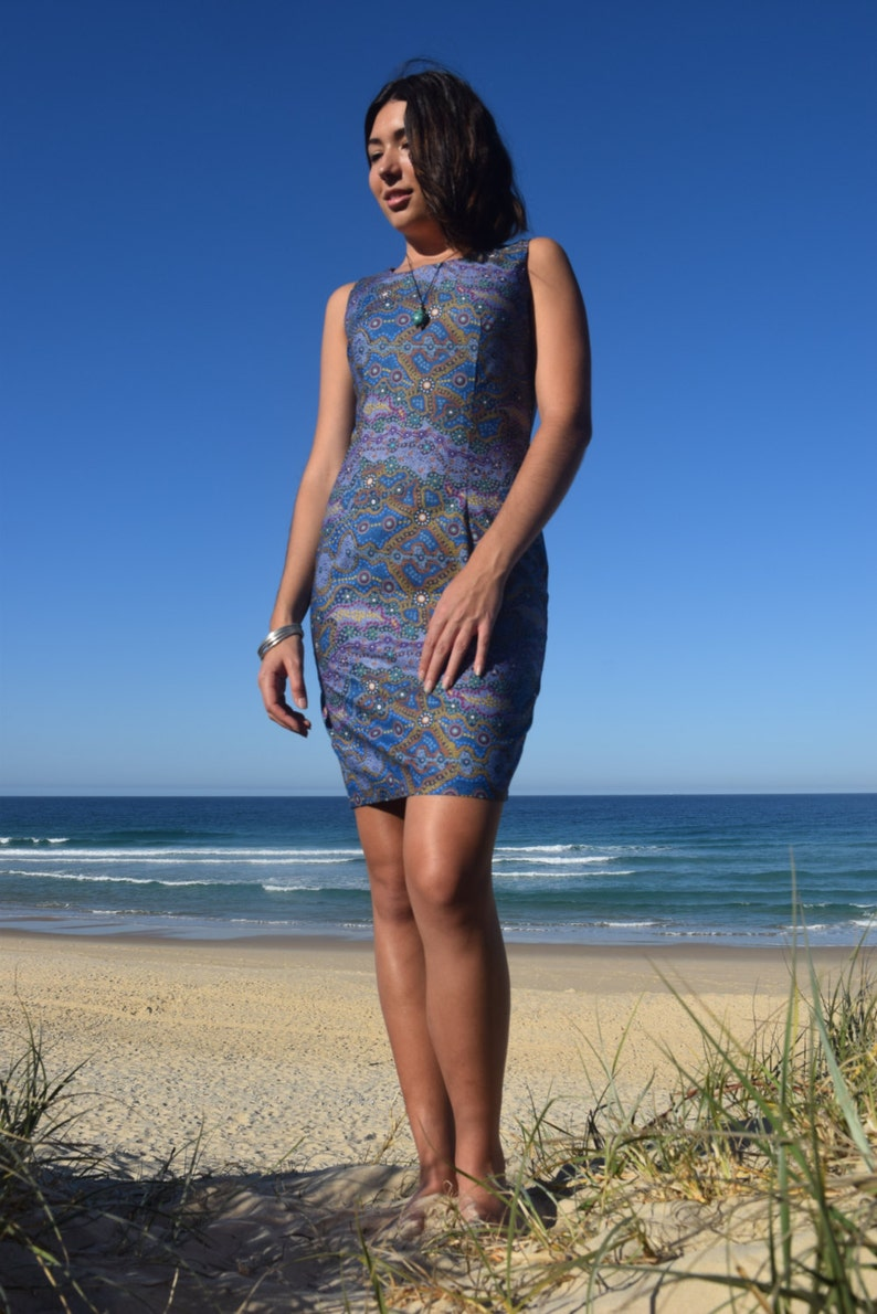 100/% cotton Sheath Dress Yalke Blue Aboriginal Artwork Print