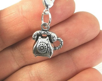 5 Telephone Charms Silver Phone Pendants Retro Vintage Rotary Jewelry Findings
