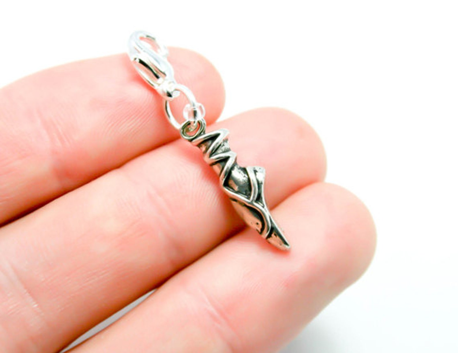 ballet shoes charm. silver dance lover charm. ballet charm. scc422