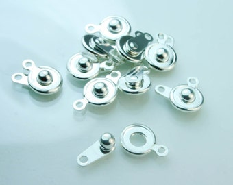 Five pcs Press Clasp -Snapper Button - Five Press Button Clasp - Silver Plated -  Snap Fastener SUP 021