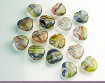 50 Czech Heart Beads - Beading Supplies - Multi coloured Czech Glass Heart Bead - Diy Jewelry   SUP  052